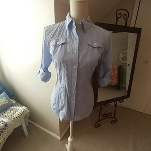 Chambray Blue Button Down w 3/4 Sleeves